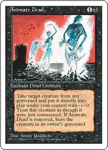 "Animate Dead  Enchant creature card in a graveyardWhen Animate Dead enters the battlefield, if it's on the battlefield, it loses ""enchant creature card in a graveyard"" and gains ""enchant creature put onto the battlefield with Animate Dead."" Return enchanted creature ca"