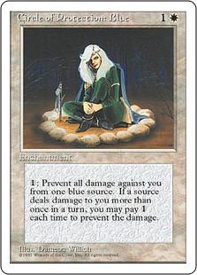 Circle of Protection: Blue  : The next time a blue source of your choice would deal damage to you this turn, prevent that damage.