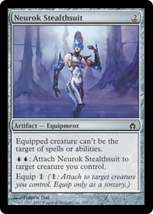 Neurok Stealthsuit  Equipped creature has shroud. (It can't be the target of spells or abilities.): Attach Neurok Stealthsuit to target creature you control.Equip  (: Attach to target creature you control. Equip only as a sorcery.)