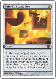 Teferi's Puzzle Box  At the beginning of each player's draw step, that player puts the cards in their hand on the bottom of their library in any order, then draws that many cards.