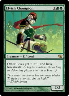 Elvish Champion  Other Elf creatures get +1/+1 and have forestwalk. (They can't be blocked as long as defending player controls a Forest.)
