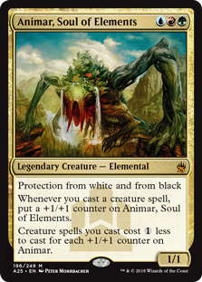 Animar, Soul of Elements  Protection from white and from blackWhenever you cast a creature spell, put a +1/+1 counter on Animar, Soul of Elements.Creature spells you cast cost  less to cast for each +1/+1 counter on Animar.