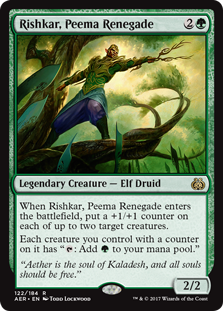 "Rishkar, Peema Renegade  When Rishkar, Peema Renegade enters the battlefield, put a +1/+1 counter on each of up to two target creatures.Each creature you control with a counter on it has "": Add ."""