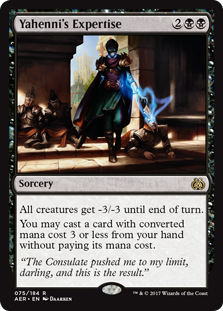 Yahenni's Expertise  All creatures get -3/-3 until end of turn.You may cast a card with converted mana cost 3 or less from your hand without paying its mana cost.