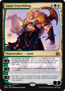 Ajani Unyielding  +2: Reveal the top three cards of your library. Put all nonland permanent cards revealed this way into your hand and the rest on the bottom of your library in any order.?2: Exile target creature. Its controller gains life equal to its power.?9: Put five +
