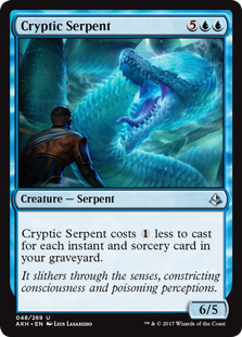Cryptic Serpent  This spell costs  less to cast for each instant and sorcery card in your graveyard.