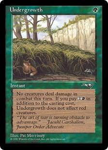 Undergrowth  As an additional cost to cast this spell, you may pay .Prevent all combat damage that would be dealt this turn. If this spell's additional cost was paid, this effect doesn't affect combat damage that would be dealt by red creatures.