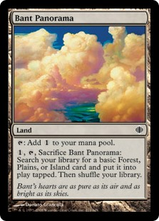 Bant Panorama  : Add ., , Sacrifice Bant Panorama: Search your library for a basic Forest, Plains, or Island card and put it onto the battlefield tapped. Then shuffle your library.