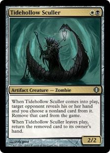 Tidehollow Sculler  When Tidehollow Sculler enters the battlefield, target opponent reveals their hand and you choose a nonland card from it. Exile that card.When Tidehollow Sculler leaves the battlefield, return the exiled card to its owner's hand.