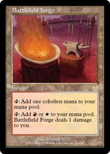 Battlefield Forge  : Add .: Add  or . Battlefield Forge deals 1 damage to you.