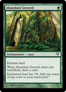 "Abundant Growth  Enchant landWhen Abundant Growth enters the battlefield, draw a card.Enchanted land has "": Add one mana of any color."""
