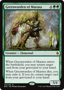 Greenwarden of Murasa  When Greenwarden of Murasa enters the battlefield, you may return target card from your graveyard to your hand.When Greenwarden of Murasa dies, you may exile it. If you do, return target card from your graveyard to your hand.