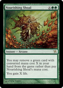 Nourishing Shoal  You may exile a green card with converted mana cost X from your hand rather than pay this spell's mana cost.You gain X life.