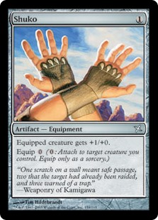 Shuko  Equipped creature gets +1/+0.Equip  (: Attach to target creature you control. Equip only as a sorcery.)