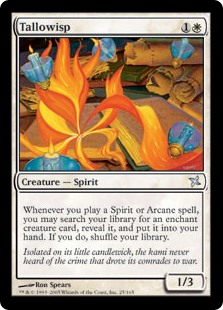 Tallowisp  Whenever you cast a Spirit or Arcane spell, you may search your library for an Aura card with enchant creature, reveal it, and put it into your hand. If you do, shuffle your library.