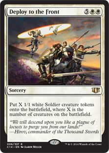 Deploy to the Front  Create X 1/1 white Soldier creature tokens, where X is the number of creatures on the battlefield.