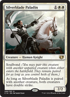 Silverblade Paladin  Soulbond (You may pair this creature with another unpaired creature when either enters the battlefield. They remain paired for as long as you control both of them.)As long as Silverblade Paladin is paired with another creature, both creatures have double
