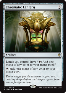 "Chromatic Lantern  Lands you control have "": Add one mana of any color."": Add one mana of any color."