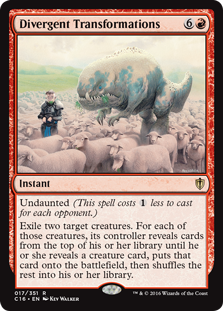 Divergent Transformations  Undaunted (This spell costs  less to cast for each opponent.)Exile two target creatures. For each of those creatures, its controller reveals cards from the top of their library until they reveal a creature card, puts that card onto the battlefield, then s