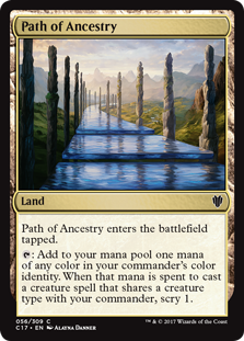 Path of Ancestry  Path of Ancestry enters the battlefield tapped.: Add one mana of any color in your commander's color identity. When that mana is spent to cast a creature spell that shares a creature type with your commander, scry 1.