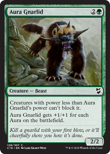 Aura Gnarlid  Creatures with power less than Aura Gnarlid's power can't block it.Aura Gnarlid gets +1/+1 for each Aura on the battlefield.