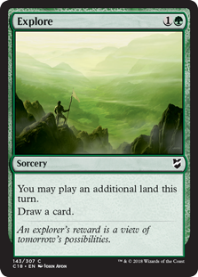 Explore  You may play an additional land this turn.Draw a card.
