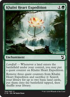 Khalni Heart Expedition  Landfall — Whenever a land enters the battlefield under your control, you may put a quest counter on Khalni Heart Expedition.Remove three quest counters from Khalni Heart Expedition and sacrifice it: Search your library for up to two basic land cards, put