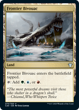 Frontier Bivouac  Frontier Bivouac enters the battlefield tapped.: Add , , or .