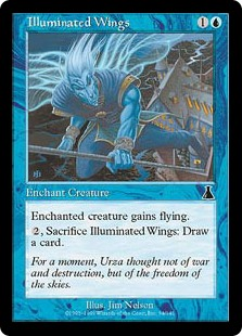 Illuminated Wings  Enchant creatureEnchanted creature has flying., Sacrifice Illuminated Wings: Draw a card.