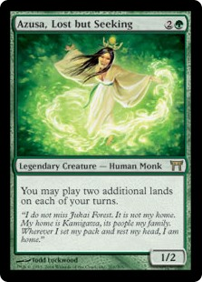 Azusa, Lost but Seeking  You may play two additional lands on each of your turns.