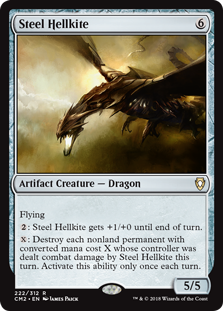 Steel Hellkite  Flying: Steel Hellkite gets +1/+0 until end of turn.: Destroy each nonland permanent with converted mana cost X whose controller was dealt combat damage by Steel Hellkite this turn. Activate this ability only once each turn.