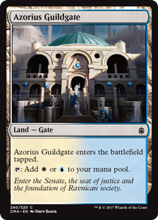 Azorius Guildgate  Azorius Guildgate enters the battlefield tapped.: Add  or .