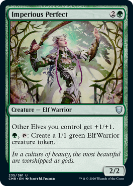 Imperious Perfect  Other Elves you control get +1/+1., : Create a 1/1 green Elf Warrior creature token.