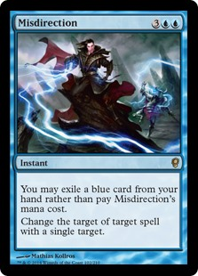 Misdirection  You may exile a blue card from your hand rather than pay this spell's mana cost.Change the target of target spell with a single target.