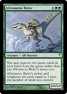 Allosaurus Rider  You may exile two green cards from your hand rather than pay this spell's mana cost.Allosaurus Rider's power and toughness are each equal to 1 plus the number of lands you control.