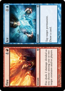 Fire/Ice  Tap target permanent.Draw a card./Fire deals 2 damage divided as you choose among one or two targets./Tap target permanent.Draw a card.