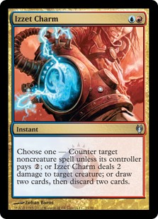 Izzet Charm  Choose one —• Counter target noncreature spell unless its controller pays .• Izzet Charm deals 2 damage to target creature.• Draw two cards, then discard two cards.