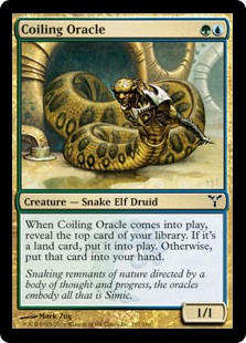 Coiling Oracle  When Coiling Oracle enters the battlefield, reveal the top card of your library. If it's a land card, put it onto the battlefield. Otherwise, put that card into your hand.