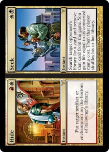 Hide/Seek  Search target opponent's library for a card and exile it. You gain life equal to its converted mana cost. Then that player shuffles their library./Put target artifact or enchantment on the bottom of its owner's library./Search target opponent's library fo