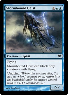 Stormbound Geist  FlyingStormbound Geist can block only creatures with flying.Undying (When this creature dies, if it had no +1/+1 counters on it, return it to the battlefield under its owner's control with a +1/+1 counter on it.)