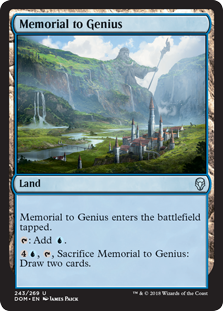 Memorial to Genius  Memorial to Genius enters the battlefield tapped.: Add ., , Sacrifice Memorial to Genius: Draw two cards.