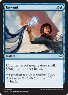 Unwind  Counter target noncreature spell. Untap up to three lands.