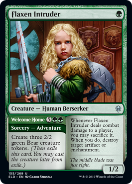 Flaxen Intruder  Create three 2/2 green Bear creature tokens. (Then exile this card. You may cast the creature later from exile.)