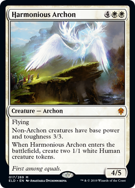 Harmonious Archon  FlyingNon-Archon creatures have base power and toughness 3/3.When Harmonious Archon enters the battlefield, create two 1/1 white Human creature tokens.