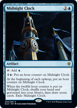 Midnight Clock  : Add .: Put an hour counter on Midnight Clock.At the beginning of each upkeep, put an hour counter on Midnight Clock.When the twelfth hour counter is put on Midnight Clock, shuffle your hand and graveyard into your library, then draw seven cards. Exile M