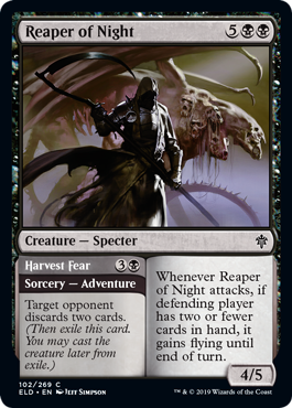 Reaper of Night  Whenever Reaper of Night attacks, if defending player has two or fewer cards in hand, it gains flying until end of turn.