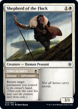 Shepherd of the Flock  Return target permanent you control to its owner's hand. (Then exile this card. You may cast the creature later from exile.)