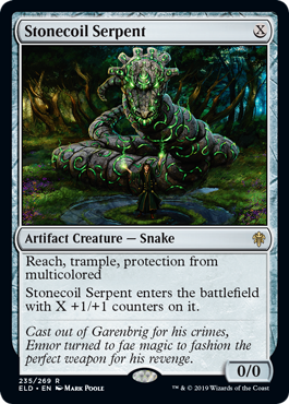 Stonecoil Serpent  Reach, trample, protection from multicoloredStonecoil Serpent enters the battlefield with X +1/+1 counters on it.