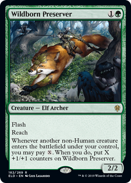Wildborn Preserver  FlashReachWhenever another non-Human creature enters the battlefield under your control, you may pay . When you do, put X +1/+1 counters on Wildborn Preserver.