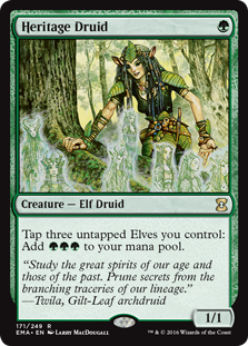 Heritage Druid  Tap three untapped Elves you control: Add .